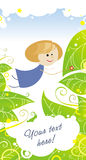 Blue fairy girl. Colored illustration of fairy girl in blue dress on light background with green leaves and little decorative elements. Can be used for event's Stock Photo