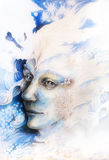 Blue fairy man face portrait with gentle abstract structures Royalty Free Stock Photos