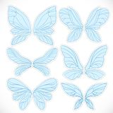 Blue fairy wings with dotted outline for cutting set Stock Photography