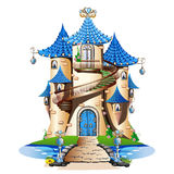 Blue  fairytale castle. Fabulous Tower with balcony and spiral staircase. Vector illustration Stock Images