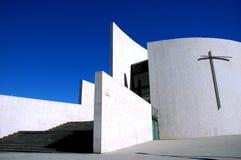 Blue faith. Modern white church Royalty Free Stock Photo