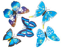 Blue fake butterfly isolated Royalty Free Stock Image