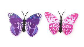 Blue fake butterfly isolated Royalty Free Stock Photo