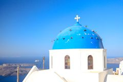 Blue famouse dome church at Firostefani on Royalty Free Stock Photography