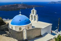 Blue famouse dome church at Firostefani on Stock Photo