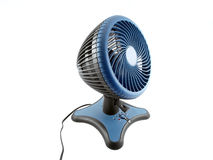 Blue Fan. Modern blue fan.  Isolated object on white Stock Photo