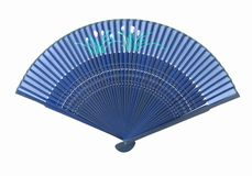 Blue Fan with flower pattern. An open blue Asian fan, with a flower pattern, isolated on white background Royalty Free Stock Photo