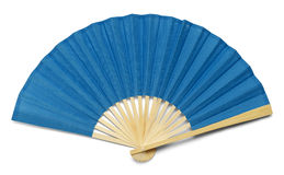 Blue Fan. Blue Open Hand Fan Isolated on a White Background Royalty Free Stock Photography