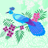 Blue fantasy bird Stock Images