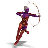 Blue Fantasy Elf with Bow and Arrow Royalty Free Stock Photo