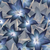 Blue fantasy lilly floral seamless pattern Royalty Free Stock Photos