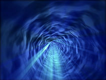 Blue fantasy tunnel with blue shines Stock Photos