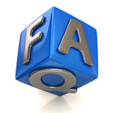 Blue faq cube Royalty Free Stock Image