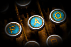 Blue faq typewriter keys Royalty Free Stock Photos