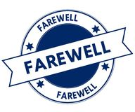 Blue FAREWELL stamp. Illustration graphic concept image Stock Photos