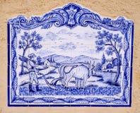 Blue farm scene Stock Image