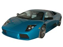 Blue fast car. Blue Lamborghini on white background (logos removed stock photo