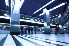 Blue fast train at platform Royalty Free Stock Images