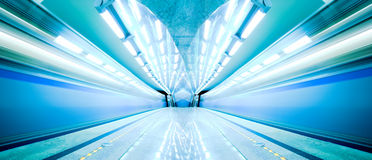 Blue fast train stay at platform Royalty Free Stock Photography