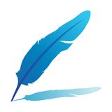 Blue feather. Illustration isolated on white Royalty Free Stock Photography