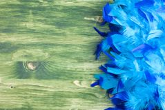 Blue feather boa on a green chalkboard with space for text on th. E left royalty free stock image