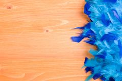 Blue feather boa on a yellow board on the left with space for te Stock Image
