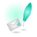 Blue feather with an envelope on white Royalty Free Stock Photo