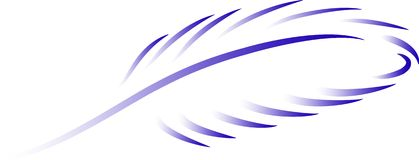Blue feather. Blue feather with a gradient on a transparent background, vector Stock Images
