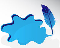 Blue feather and splash Stock Photography