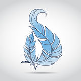 Blue feather. Two gently blue feathers intersect on a white background Stock Photos