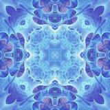 Blue feathery fractal mandala Stock Photography