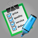 Blue felt tip pen and green checklist Royalty Free Stock Photo