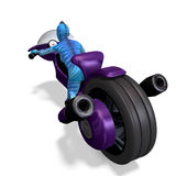 Blue female alien on a futuristic bike Stock Photo