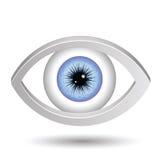 Blue female eye. Colorful illustration with blue female eye  on a white background Royalty Free Stock Image
