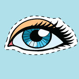 Blue female eyes girl or woman label sticker Royalty Free Stock Photos
