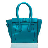 Blue female handbag over white Stock Image