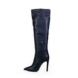 Blue female high heel boot Stock Photography
