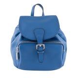 Blue female leather bag isolated on white background Royalty Free Stock Photo
