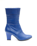Blue female leather boot Stock Photography
