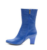 Blue female leather boot Royalty Free Stock Photo