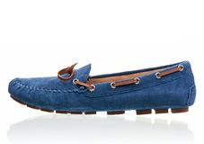 Blue female loafer over white. Background Stock Photos