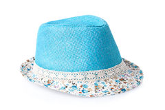 Blue female summer straw hat isolated on white Stock Images