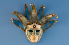 Blue female venetian mask Royalty Free Stock Photography