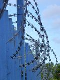 Blue fence with barbed wite spiral Royalty Free Stock Photography