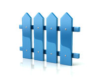 Blue fence icon. 3d illustration on white background Royalty Free Stock Images