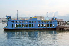 Blue ferry boat at the sea Royalty Free Stock Photos