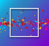 Blue festive background with colorful confetti. Blue festive background with white frame and colorful paper confetti. Vector illustration.r Stock Photography