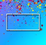 Blue festive background with colorful confetti. Blue festive background with white frame and glossy colorful oval confetti. Vector illustration.r Royalty Free Stock Images