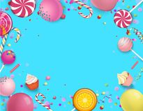 Blue festive background with colorful lollipops. Blue festive background with bright colorful lollipops, balloons and serpentine. Vector illustration.r Stock Images