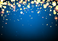 Blue festive background with confetti. Stock Photo
